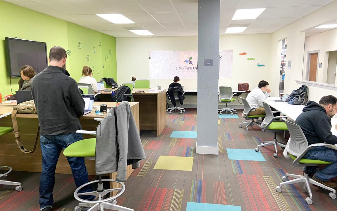Busy flexible workspace in San Antonio.